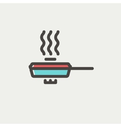 Frying pan with cover thin line icon vector image