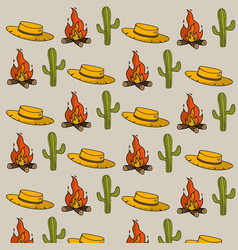 hat cactus and wood fire things background vector image vector image