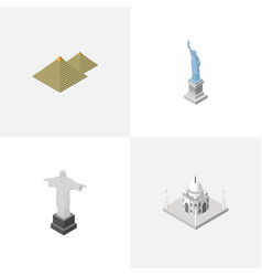 isometric travel set of rio new york egypt and vector image vector image