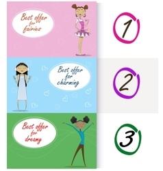 Sale with three cute cartoon vector image vector image