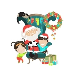 Santa Clause with happy kids vector image vector image