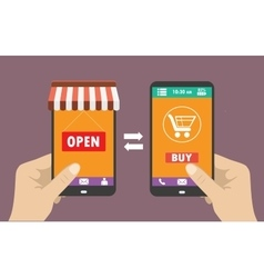 shopping on the phone flat design vector image