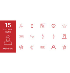 15 member icons vector image