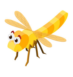 3d design for dragonfly in yellow color vector image