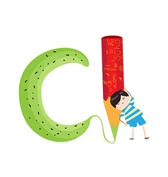 A Kid Leaning on a Letter C vector