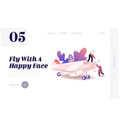 Aircraft modeling landing page template tiny vector