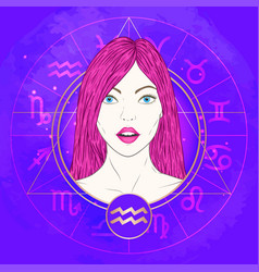Aquarius zodiac sign and portrait vector