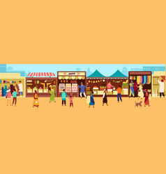 arab or asian outdoor street market souk or vector image