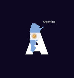 Argentina initial letter country with map vector