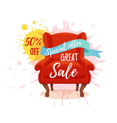 Armchair colorful cartoon sale vector