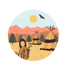 Background with settlement of native americans usa vector