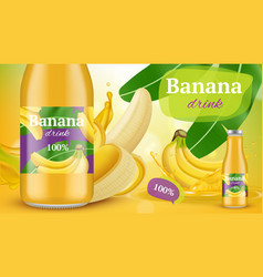 Banana poster promotional advertising placard vector