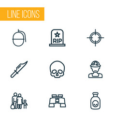 battle icons line style set with sniper grave vector image