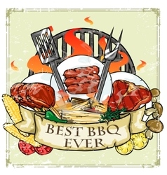 BBQ Grill label design - Best BBQ Ever vector image