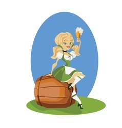 Beer girl in dirndl on keg with pretzel pinup vector image