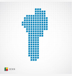 benin map and flag icon vector image