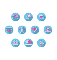 Blue round romantic events flat icons set vector image vector image
