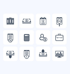Bookkeeping finance icons set banking payments vector