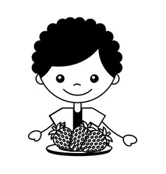 Boy with fresh fruit strawberry vector