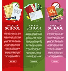 Bright banners back to school with folders books vector image