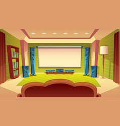 Cartoon home theater with projector screen vector