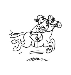 cartoon horse ride outlined hand drawn vector image