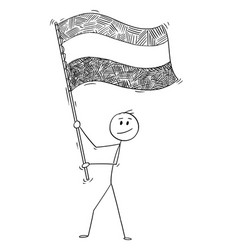 cartoon of man waving the flag of kingdom of the vector image
