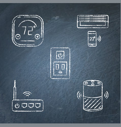 chalkboard smart home automation icons set in line vector image