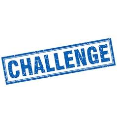 Challenge blue square grunge stamp on white vector