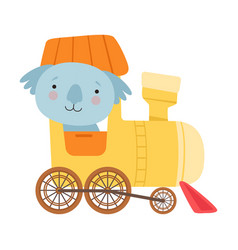 Cheerful red cheeked koala driving toy wheeled vector