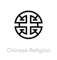 Chinese religion icon editable line vector