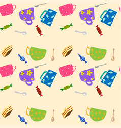 Cookies and sweets seamless background vector