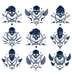criminal tattoo gang emblem or logo with vector image