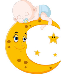 Cute baby sleeping on the moon vector