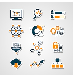 Data analytic icons paper cut set vector image