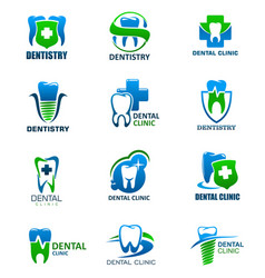 Dentistry clinic icons with tooth cross shield vector