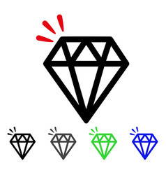 Diamond crystal flat icon vector