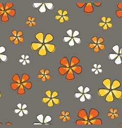 ditsy warm flowers colorful on a gray background vector image