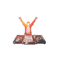 dj music club disco party concept hand drawn vector image
