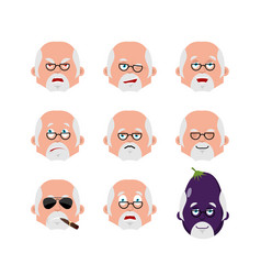 doctor face set sleeping and evil emotion avatar vector image