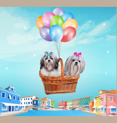 Dogs in basket vector