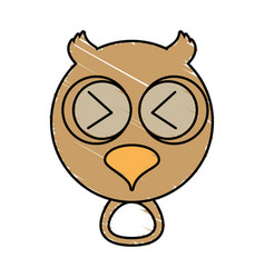 Drawing owl face animal vector