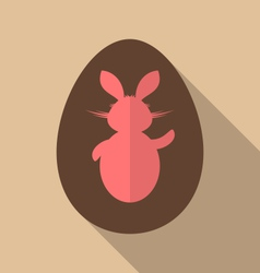 Easter bunny in chocolate egg trendy flat style vector image