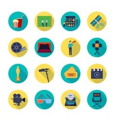 Filmaking Attributes Flat Round Icons Collection vector