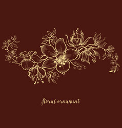 floral ornament over dark background vector image