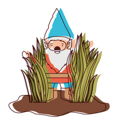 gnome coming out of the bushes in watercolor vector image