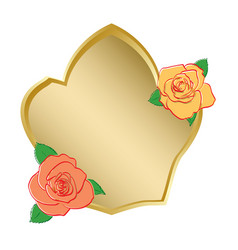 golden shield with roses vector image