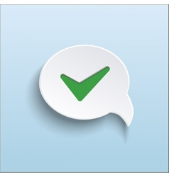 green check mark on speech bubble vector image
