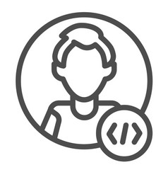 Guy coder with a code tag avatar of programmer vector