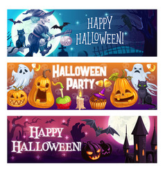 halloween party leaflets witchcastle and pumpkins vector image